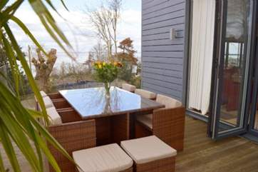 Enjoy the Island's heat into the evening on the decking