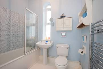 The family bathroom, with fitted shower over bath