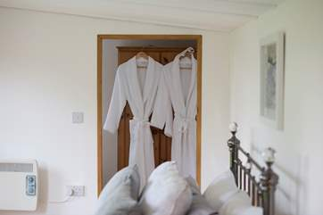 And you even get robes too for your break at Cuddle Cabin.