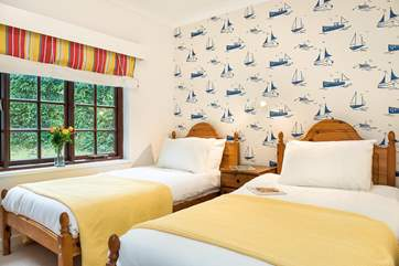 There's a nautical theme in the fourth bedroom.