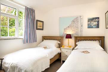 The twin bedroom is situated on the ground floor.