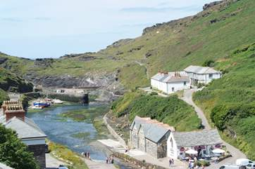 The pretty harbour in the village.