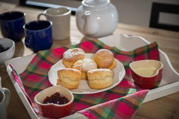 A lovely cream tea awaits you on arrival...yum!
