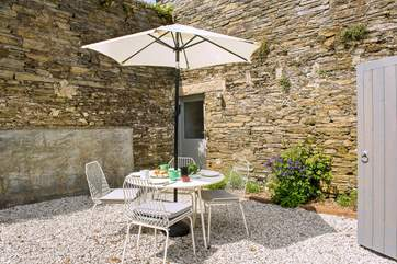 There's a private courtyard right outside the lounge- a lovely spot to enjoy a Cornish Cream tea!