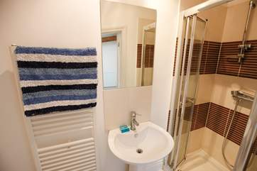 The shower-room off the single bedroom