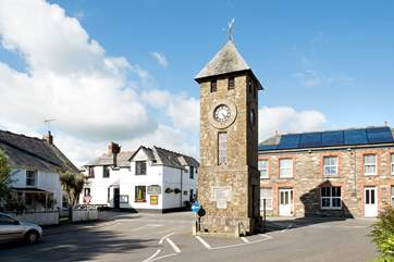 The iconic clock tower in the heart of the village.
