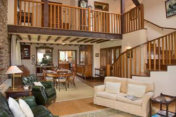 The double height, open plan sitting/dining-room.