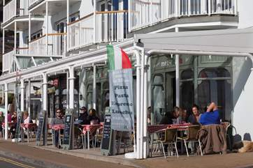 There are many great places to dine long the seafront and in the town