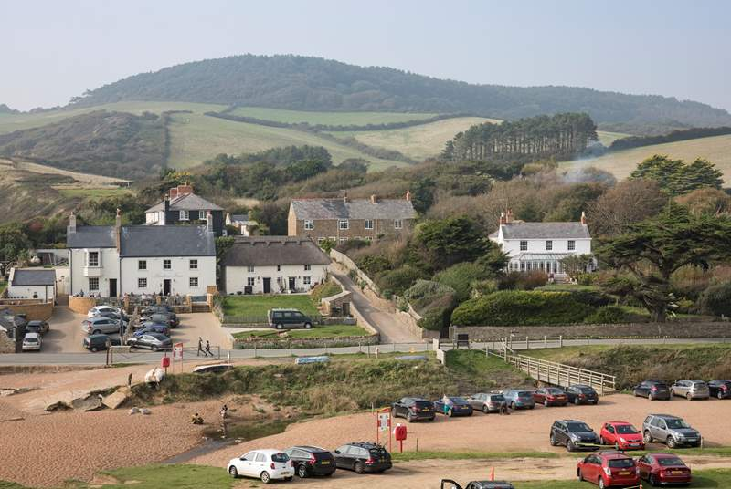 The guardhouse is the stone semi-detached cottage in the top right of the photgraph. The nearby Anchor Inn is an award-winning pub,