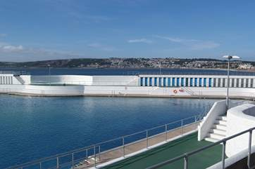 Penzance's open air Jubilee swimming pool.