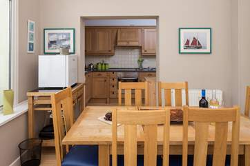 The dining-room links nicely to the kitchen, making serving up a feast quick and easy.