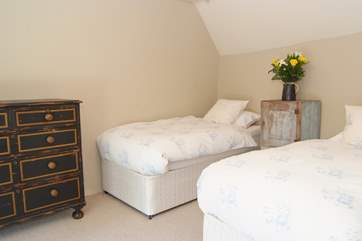 This twin bedroom is above the ground floor bedroom and shares the stairs from that room.