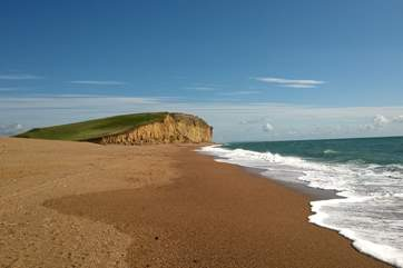 The Jurassic Coast is just waiting to be explored. This is the beach as it stretches away from Burton Bradstock.