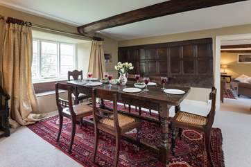 This dining room still has its historic wooden panelling.