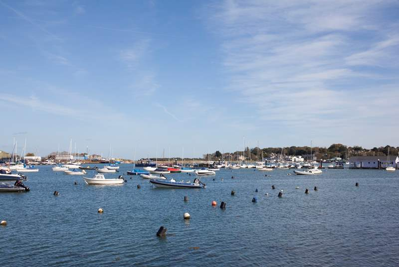 Bembridge harbour is a hive of activity.