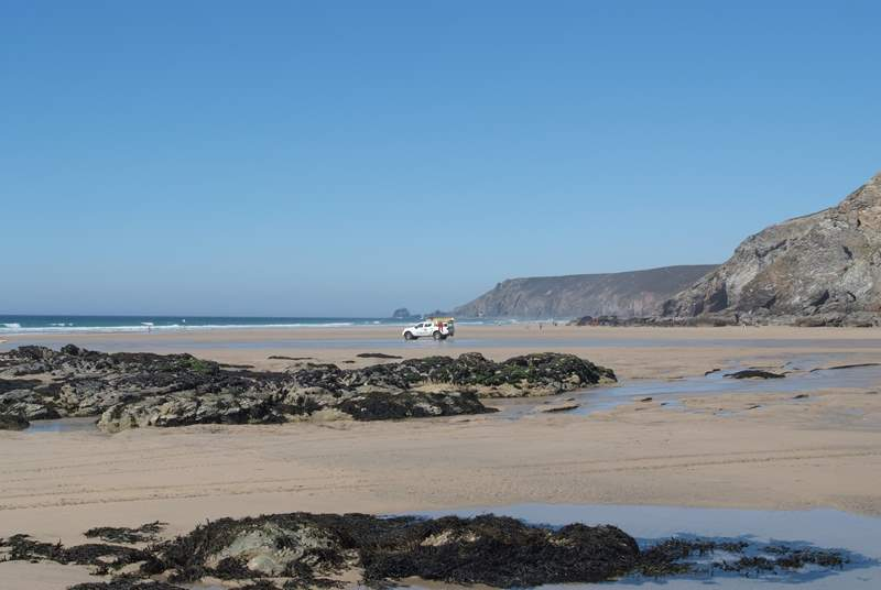 Porthtowan beach at low tide, just a five minute stroll away from Ocean Breeze.