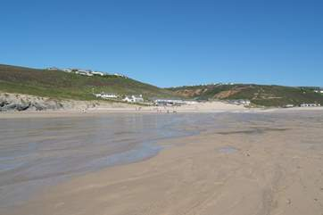 Looking from the beach towards the village (Ocean Breeze is up on the cliff on the left).