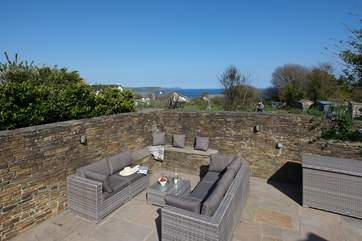 Another view of the rear patio with Nare Head and Gull Rock in the distance.