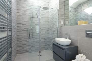 The smart en suite shower-room in the annexe.