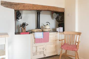 As well as the hob and electric oven there is a traditional Aga, for lovely farmhouse cooking, additional warmth, or for sitting by with a book!