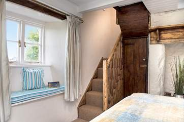 A second set of stairs lead off from bedroom 1 to the bathroom on the first floor. Please note the stairs are steep and narrow.
