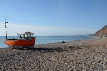 A 15 minute walk through National Trust land will take you to Branscombe's shingle beach.