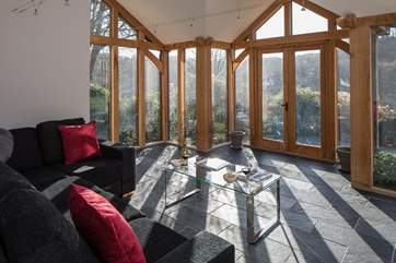 Gorgeous views from the vaulted sitting-room.