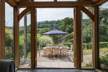 French doors open onto the patio and the fabulous valley view.