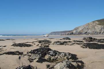 Porthtowan beach, a fabulous surf spot and wonderful sandy beach, just a five minute stroll from Ocean Retreat.