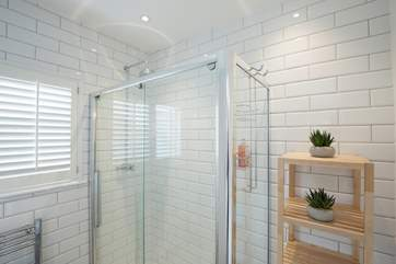 The shower-room with a large and spacious shower cubicle.