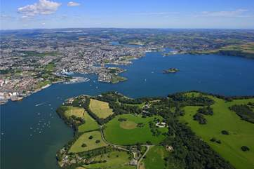 Mount Edgcumbe Country Park stretches over the entire headland with the city of Plymouth across the water.