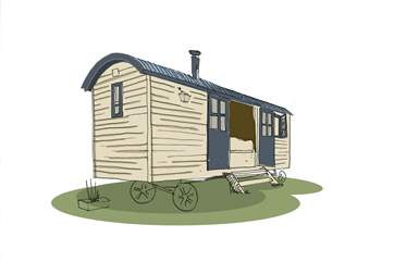 An artist's impression of the Shepherd's Hut. Hand built to the highest quality, this really will be a very special glamping holiday!