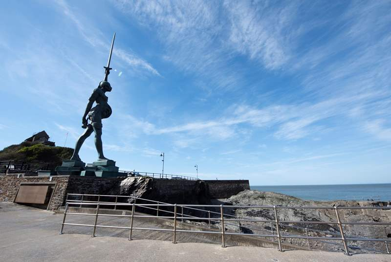 The infamous 'Verity Statue' by Damien Hirst at Ifracombe, just a ten minute drive away.