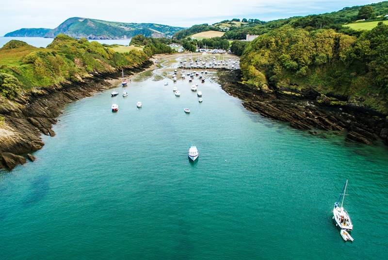 The beautiful natural harbour at Watermouth Bay lies at the foot of the hill that rises up to Lydford Farm, the setting for Wild Pear Shepherds' Hut.