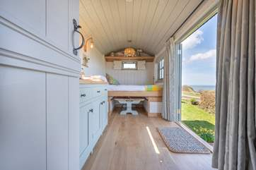 This fabulous shepherd's hut is surprisingly spacious.