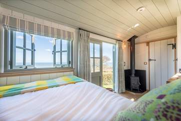 Wild Pear Shepherd's Hut has panoramic sea views spread out right in front of you.