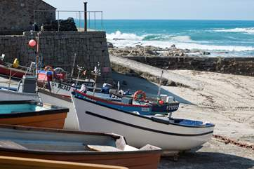 Boats in the harbour at Sennen.