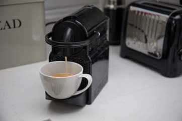 For a little holiday luxury, a few Nespresso pods are supplied.