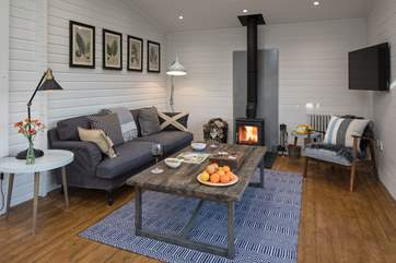 The wood-burner and Smart TV are perfect for a cosy night in.