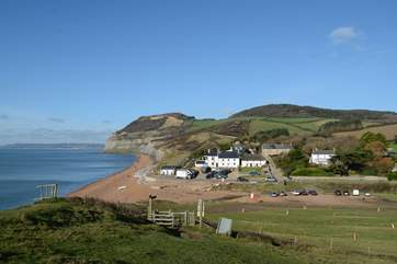 Seatown, with Golden cap in the distance and the award-winning Anchor Inn in the foreground.