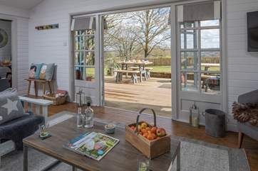 The French doors allow the light to flood in.
