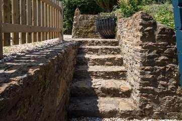 Six steps lead down to Ridge Lodge.