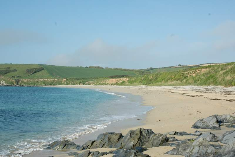 The lovely sandy beach at Towan is a 10 minute stroll from the house.