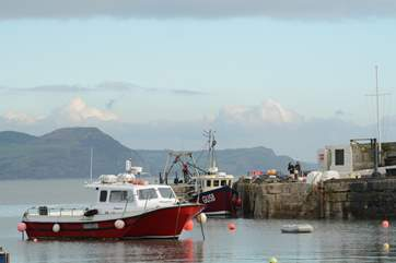 Fishing boats at nearby Lyme Regis, with Golden Cap in the background.