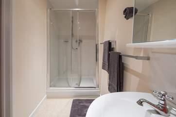 The large walk-in shower in the en suite for bedroom 2.