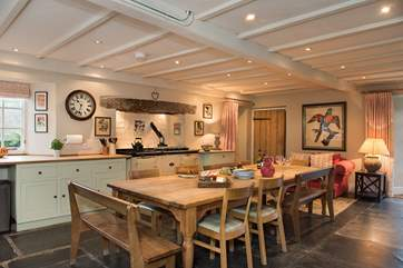 The kitchen really is the heart of the home with its slate floor and toasty Aga.