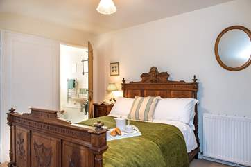 Bedroom 3 has a lovely antique French bed and en suite facilities.
