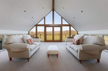 Upstairs in the spa is a calm library where you can simply relax - the view is right across the valley to Wells Cathedral.