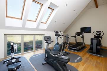 The gym is on the first floor of the spa.