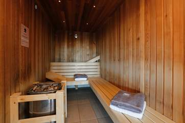 This is the sauna in the spa. There are top quality showering facilities too, as you would expect.